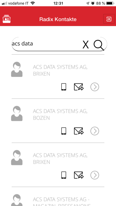 Screenshot of RadixContact1
