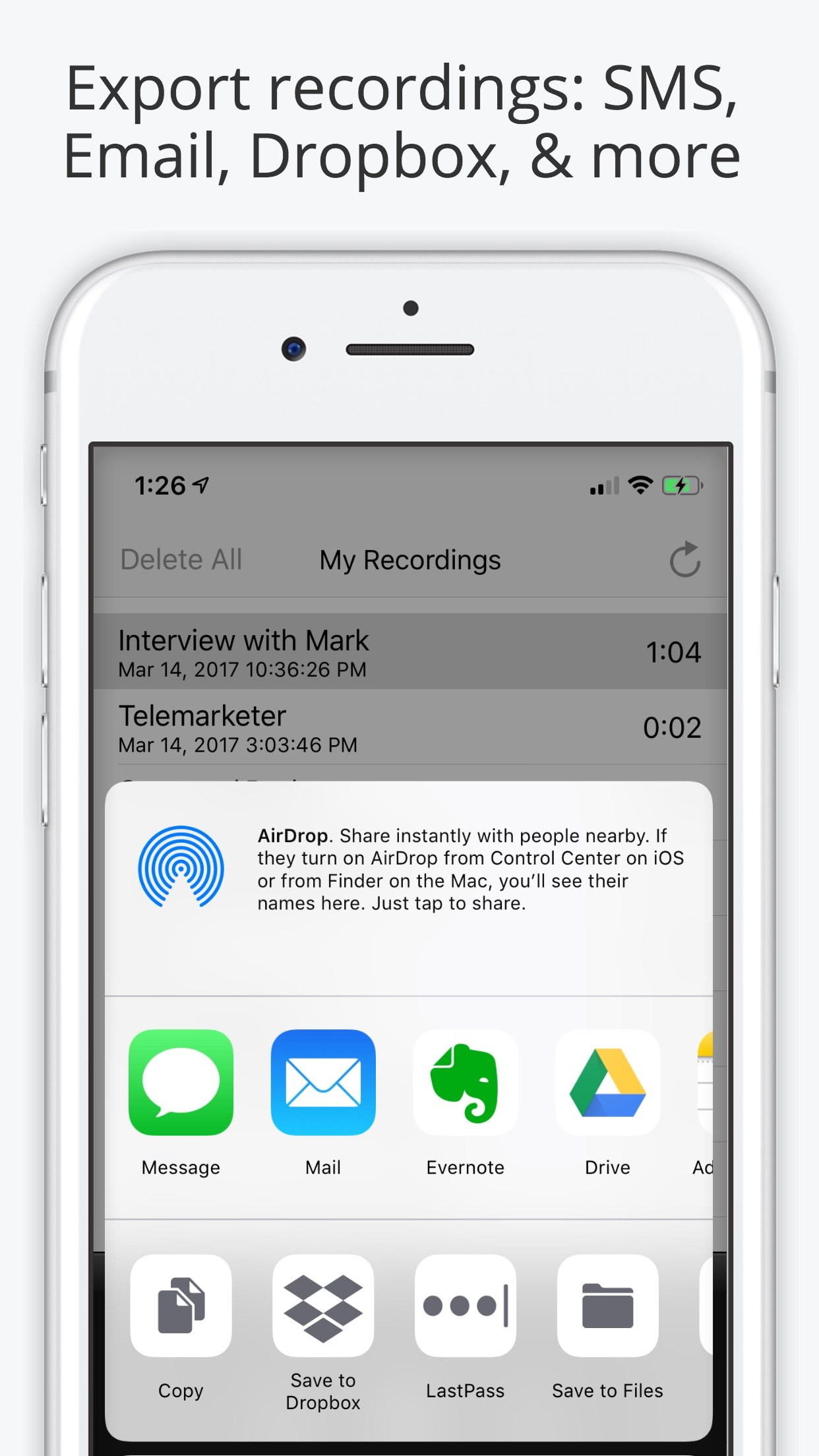 Call Recorder Lite for iPhone Screenshot
