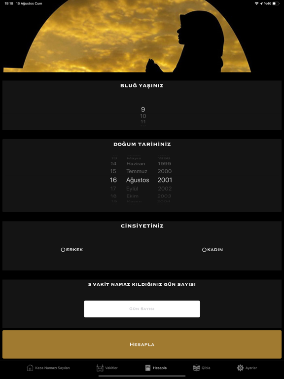 Kaza Namazı Hesaplama & Takibi ipad ekran görüntüleri