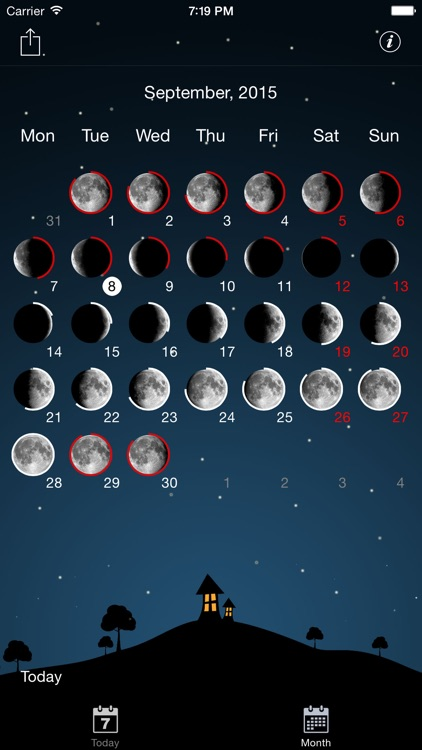 Moon phases calendar and sky screenshot-3