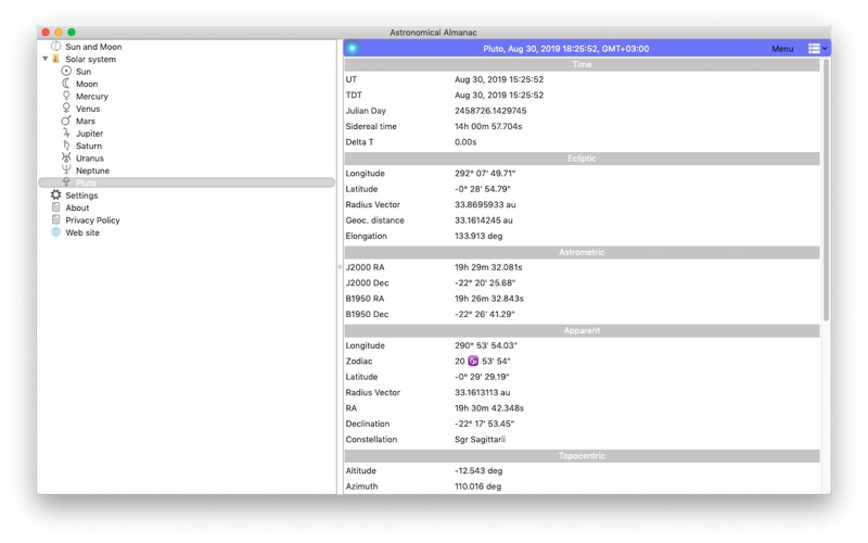 Astronomical Almanac for Mac