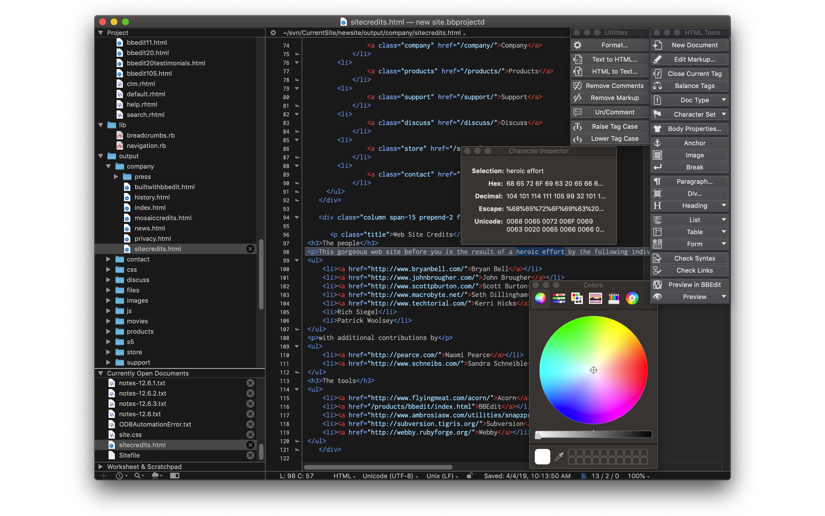 Screenshot do app BBEdit