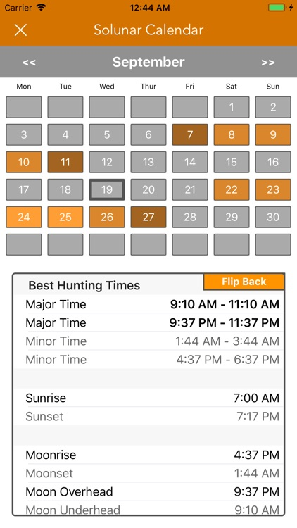 Best Hunting Times Calendar