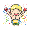 Cute boxer sticker
