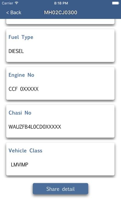 RTO Vehicle Registration Info