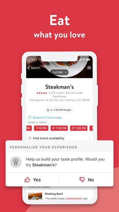 Opentable review screenshots