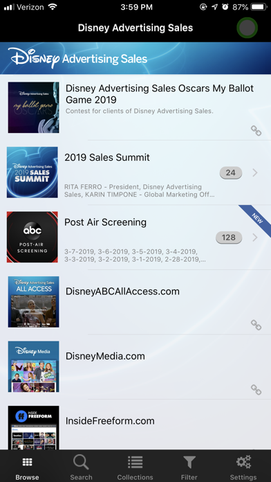 Disney Advertising Sales Screenshot