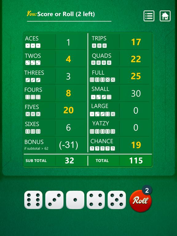 Ipad Screen Shot Yatzy Dice Game 1