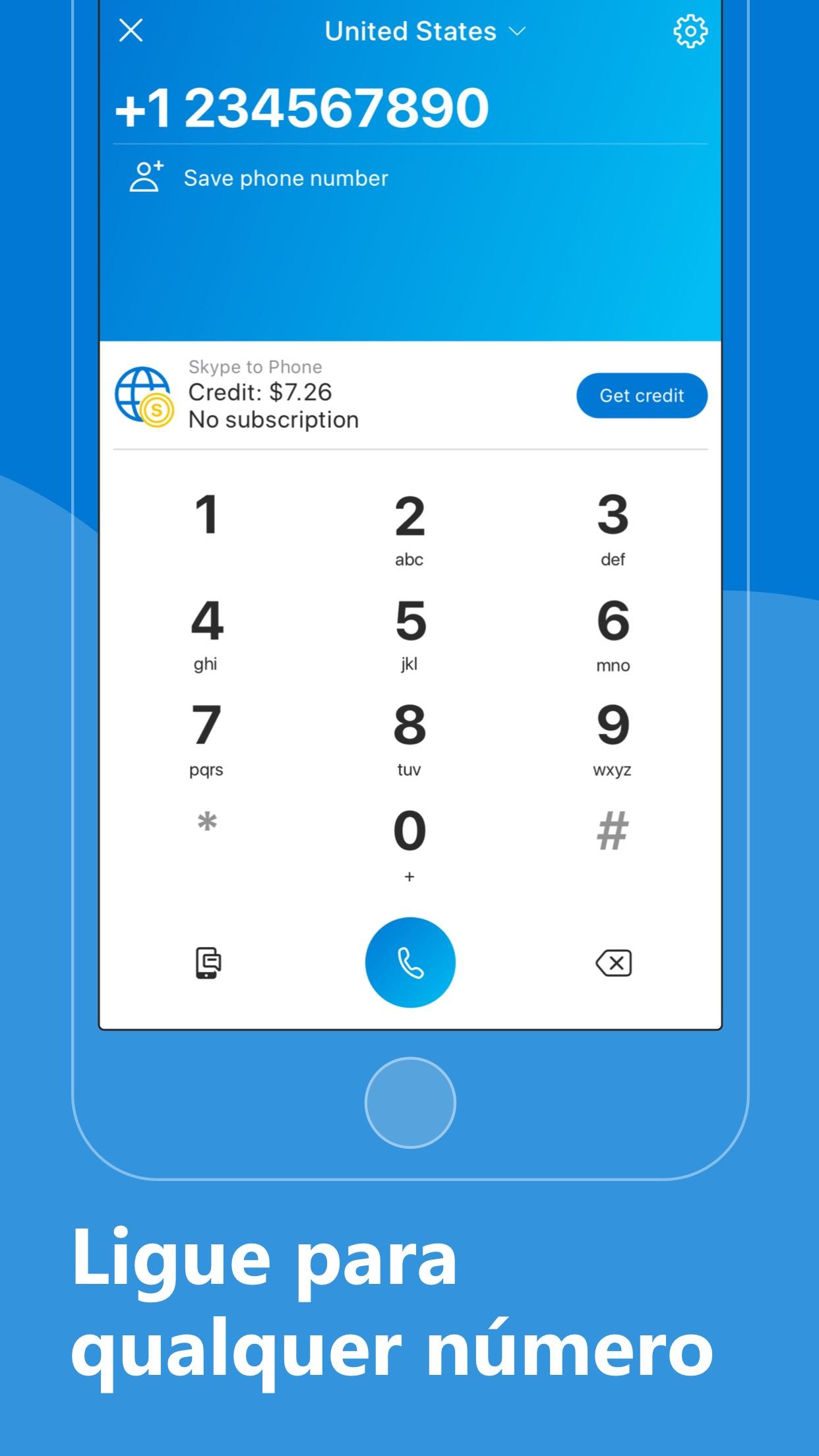 Screenshot do app Skype para iPhone