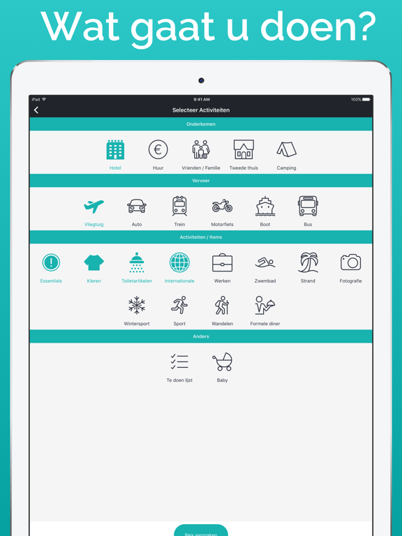 Packr - Reis verpakkingslijst iPad app afbeelding 2