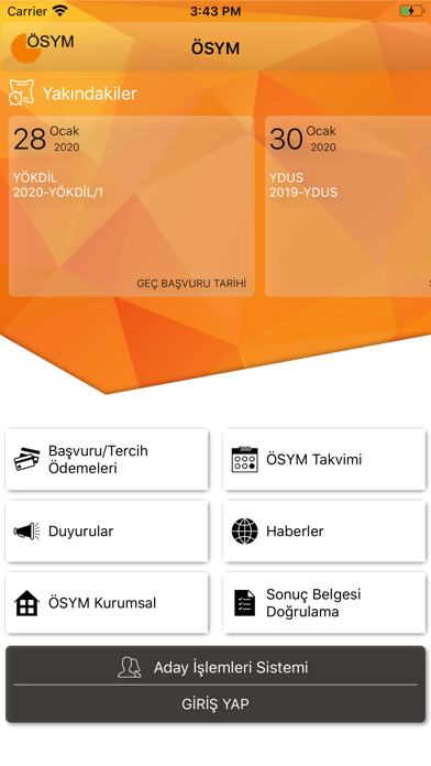 ÖSYM Aday İşlemleri Sistemi iphone ekran görüntüleri