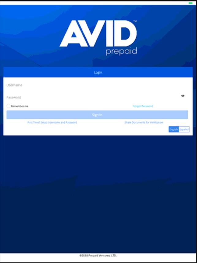 AVID prepaid on the App Store