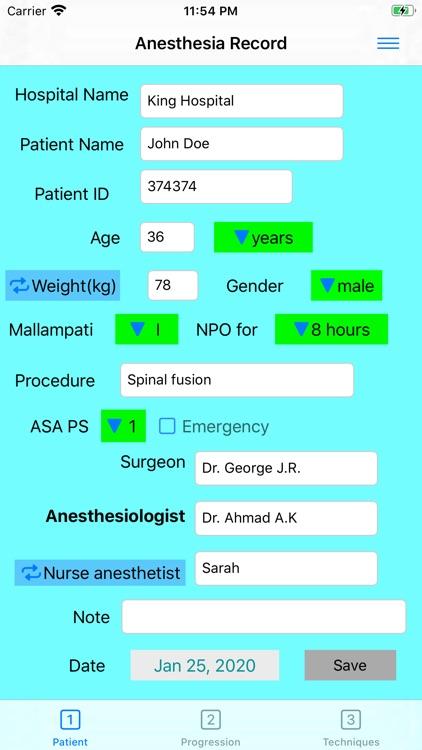 Anesthesia Record