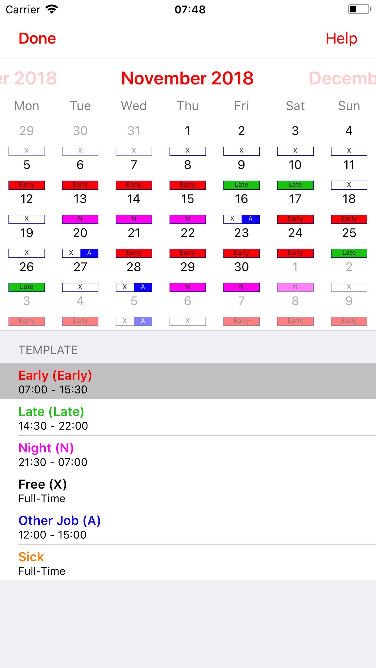 Roster-Calendar Screenshot