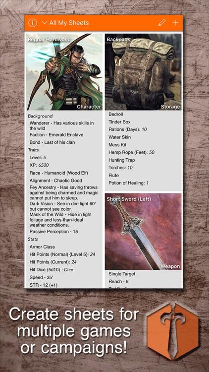 Sheet Yourself: RPG Sheets screenshot-0