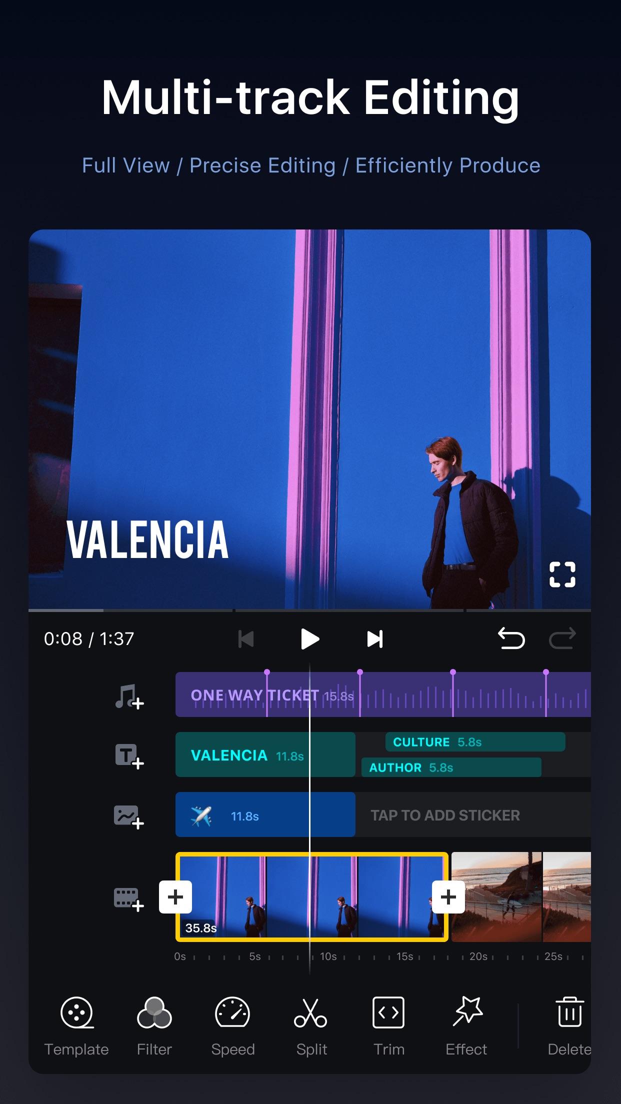 Screenshot do app VN Editor de vídeo