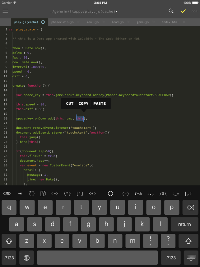 ‎GoCoEdit - Code & Text Editor Screenshot