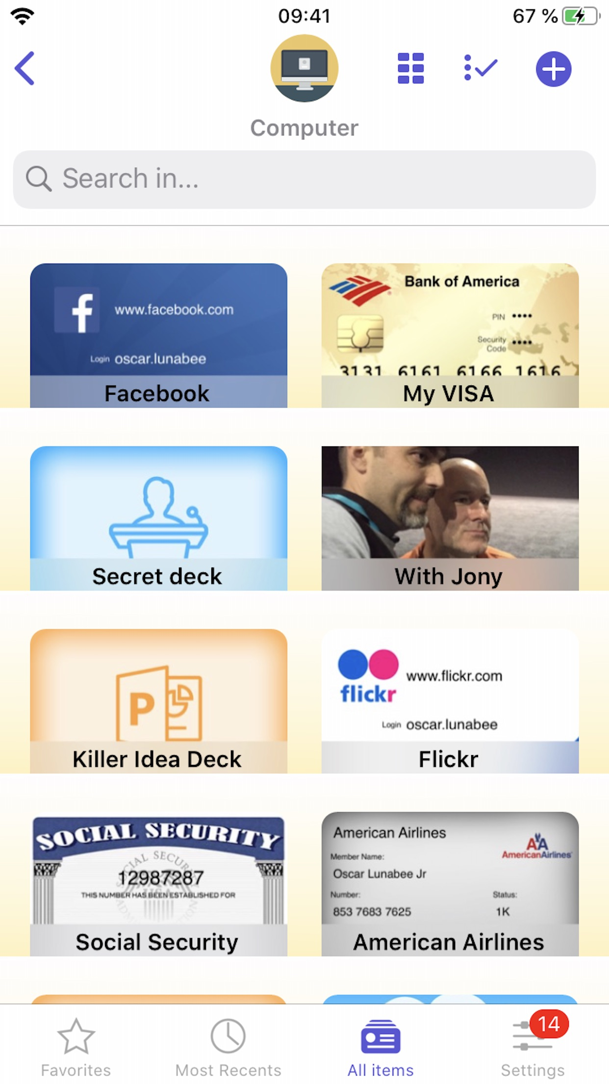 Screenshot do app oneSafe password manager