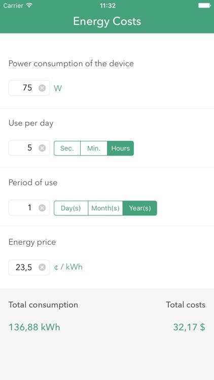 Energy Costs Calculator