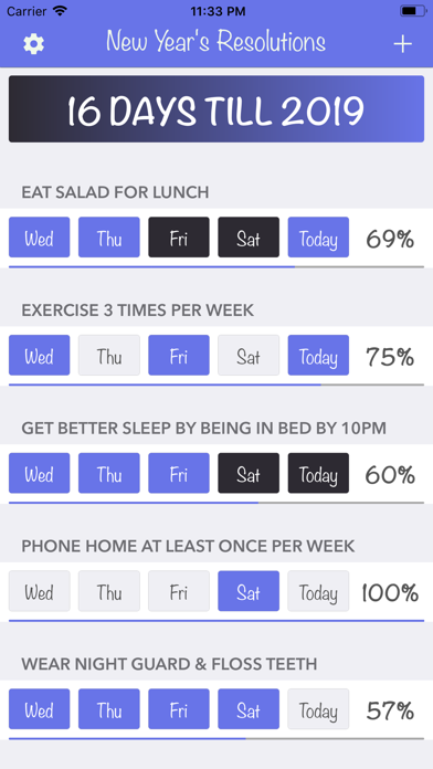 New Years Resolutions Tracker screenshot one