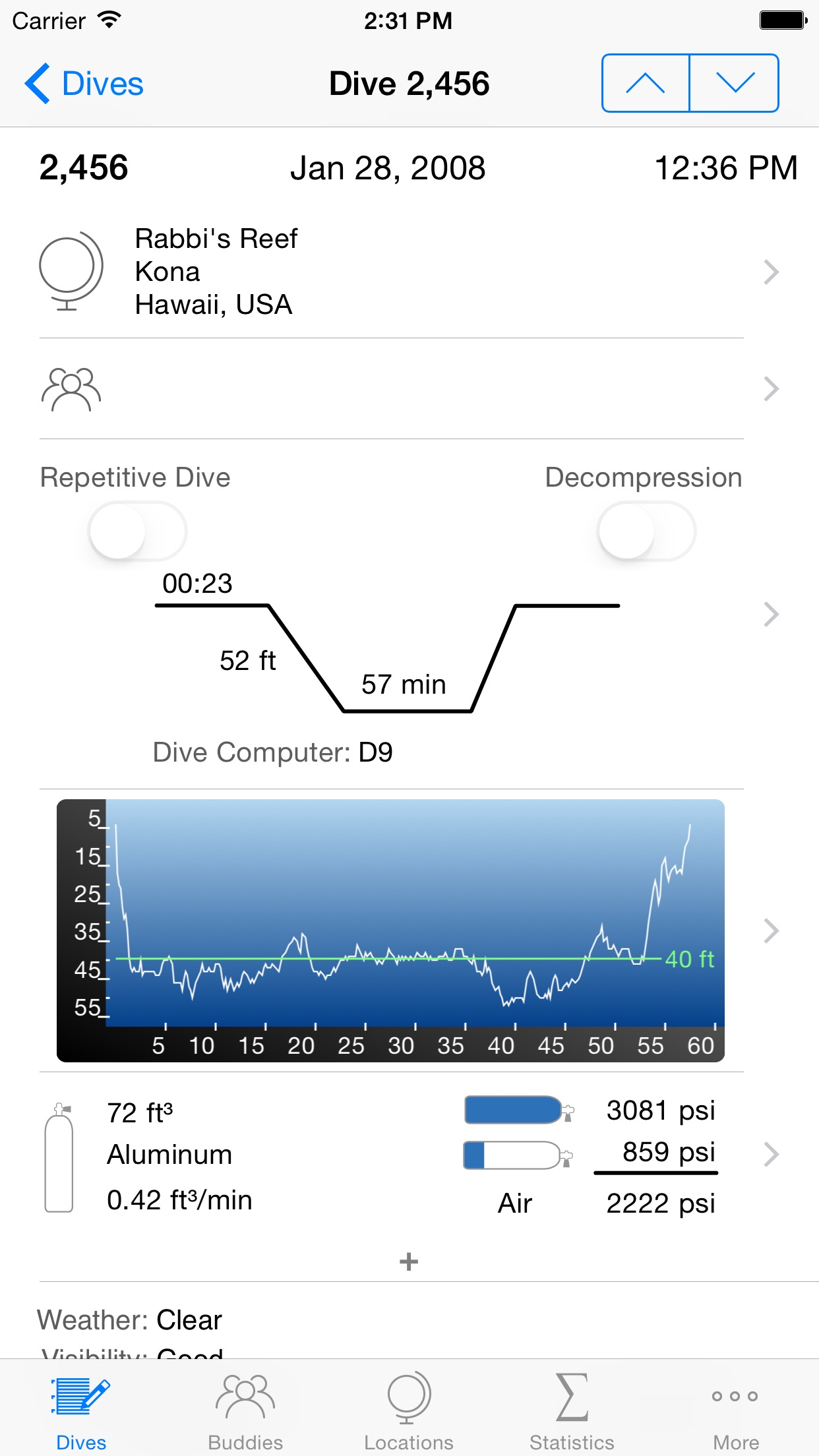 Dive Log Screenshot