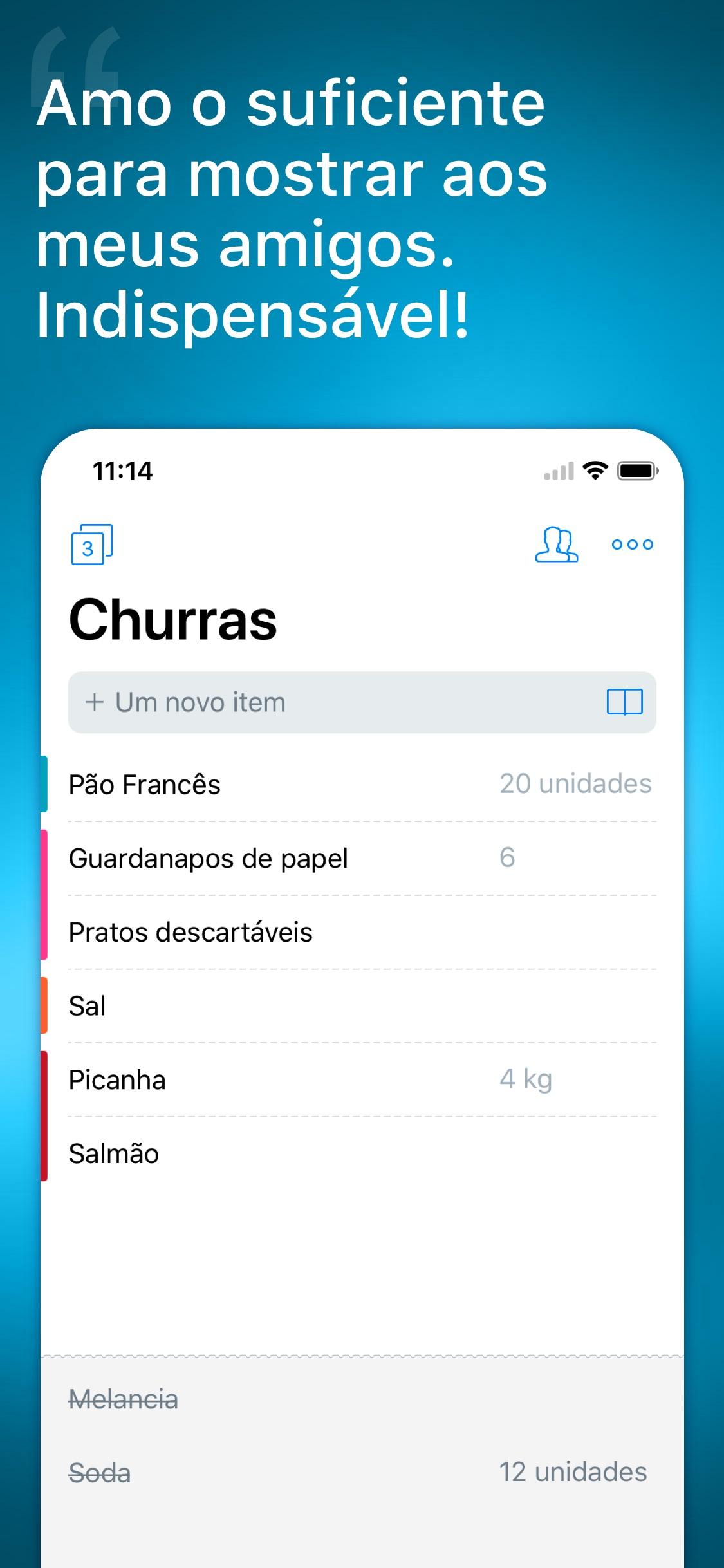 Screenshot do app Buy Me a Pie! Shopping list