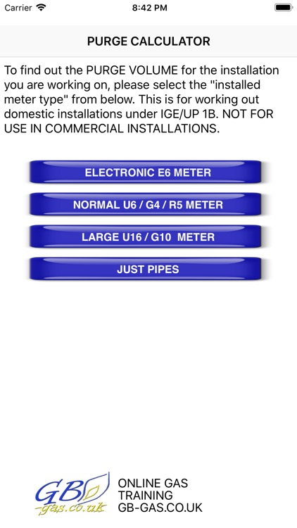 GB Gas Purging Calculator
