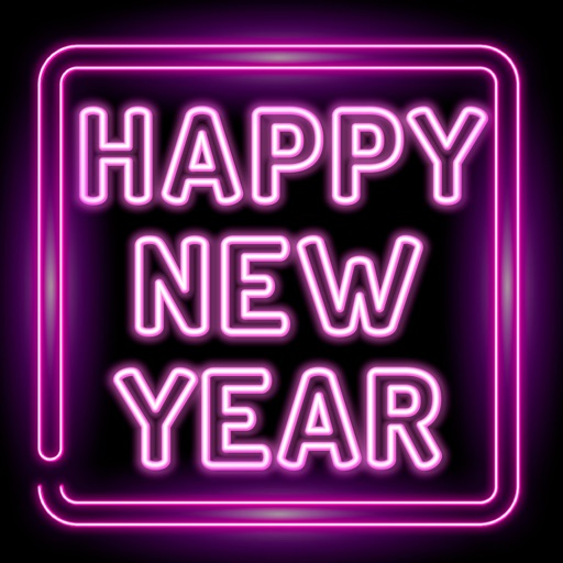Happy New Year Neon Stickers