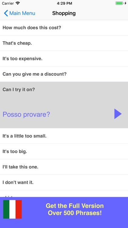 Speak Italian Phrasebook Lite screenshot-2