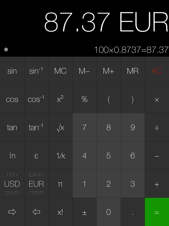My Calculator (incl. currency) Screenshots