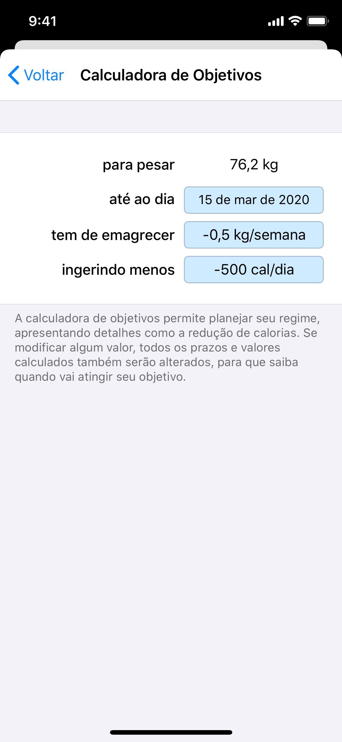 Screenshot do app Peso Diário