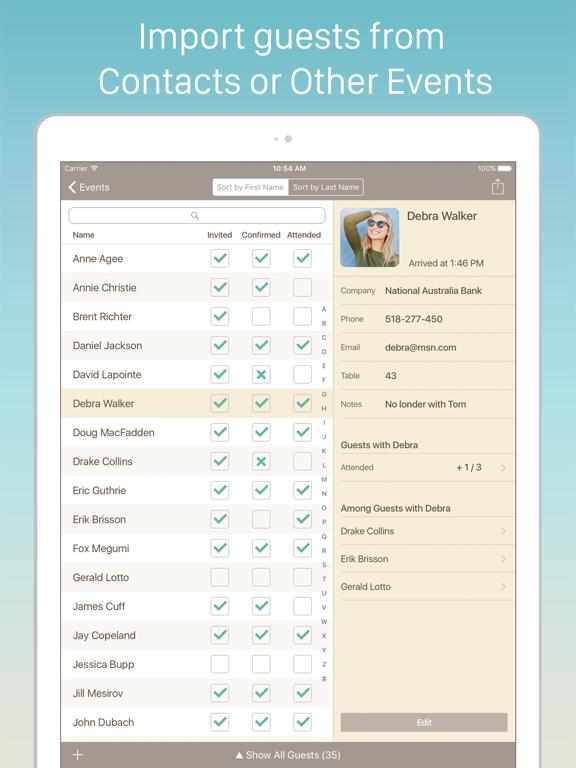 Guest List Organizer. screenshot