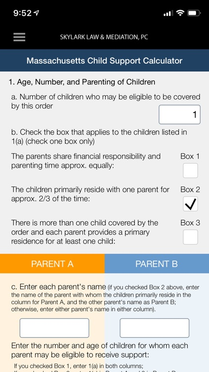 MA Child Support Calculator