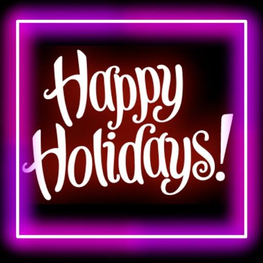 Happy Holidays Neon Stickers