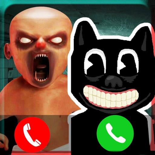 可怕的卡通猫和婴儿电话