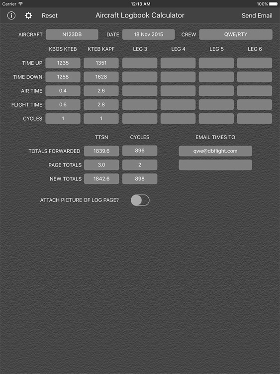 Aircraft Logbook Calculator