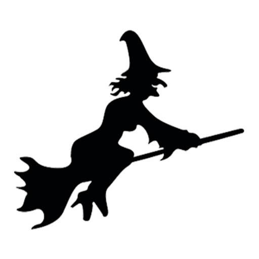 Witch on a broomstick stickers