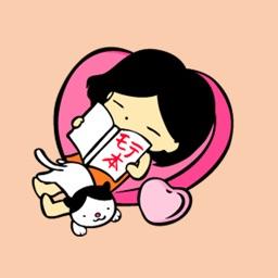 ハチワレ模様の猫と女の子スタンプ