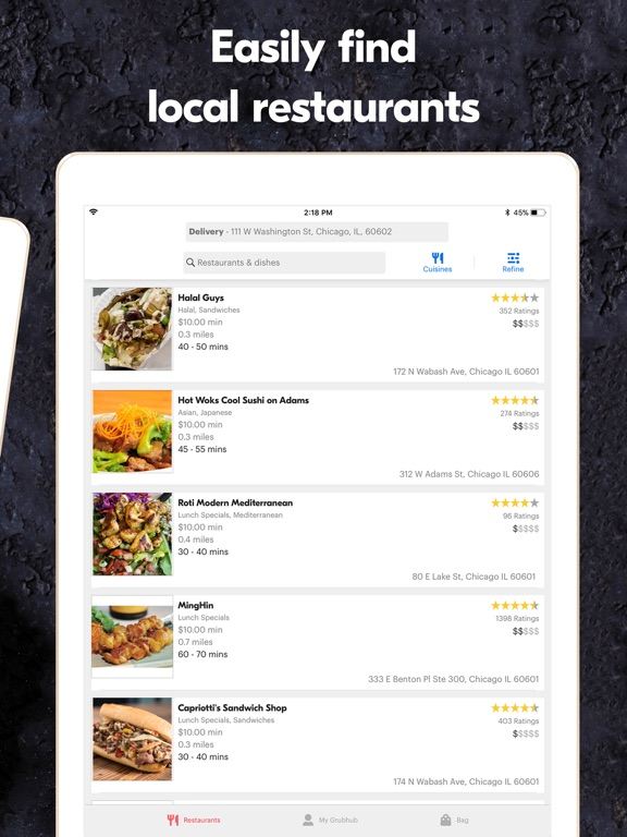 Grubhub: Local Food Delivery iPad