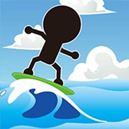 棒人間がサーフィン