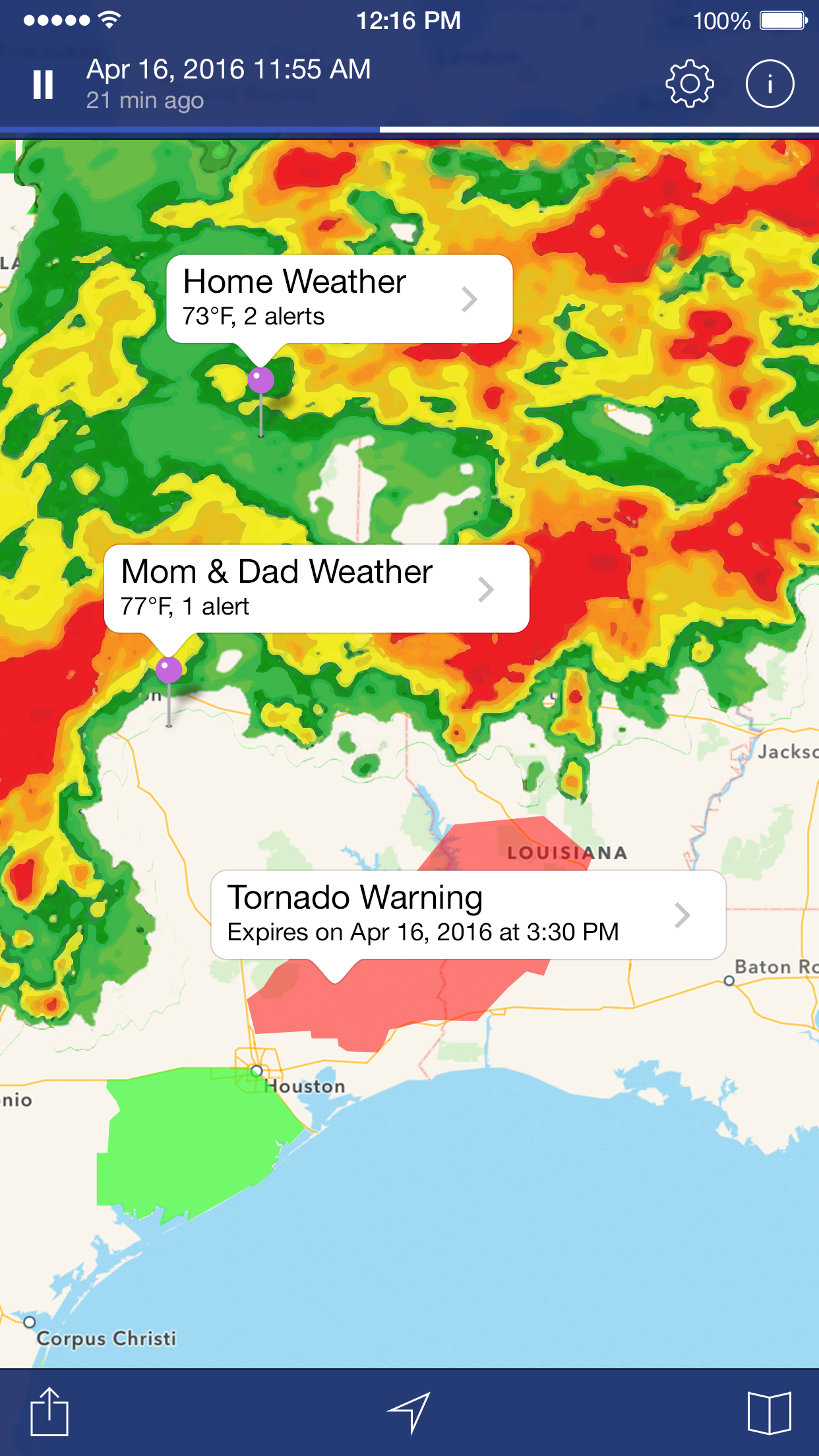 NOAA Weather Radar. Screenshot