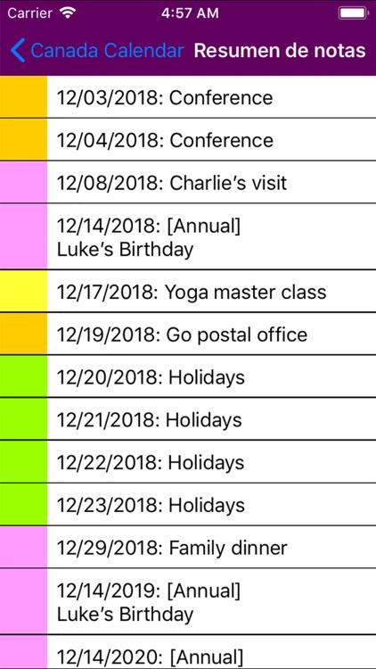 2019 Canada Calendar NoAds screenshot-5