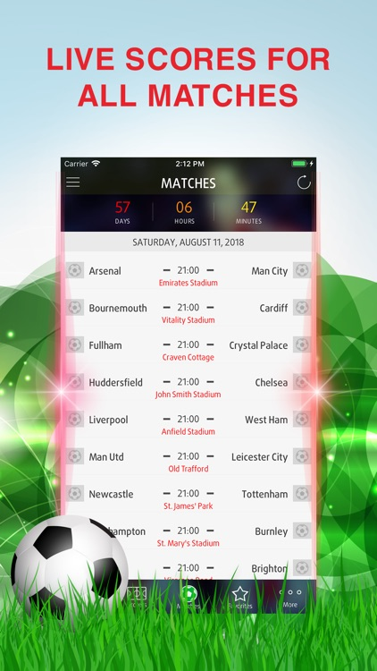Live Score for Premier League