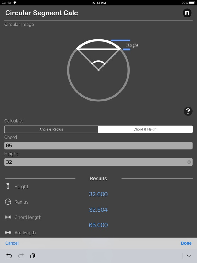 Circular Segment Calculator On The App Store