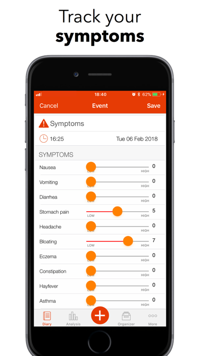 mySymptoms Food Diary app image