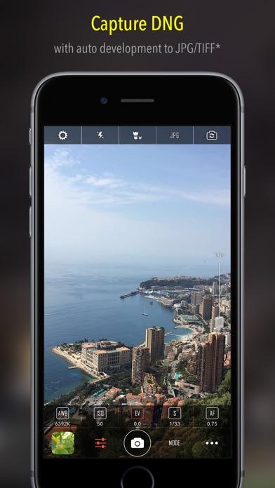 Camera++ manual camera + RAW screenshot