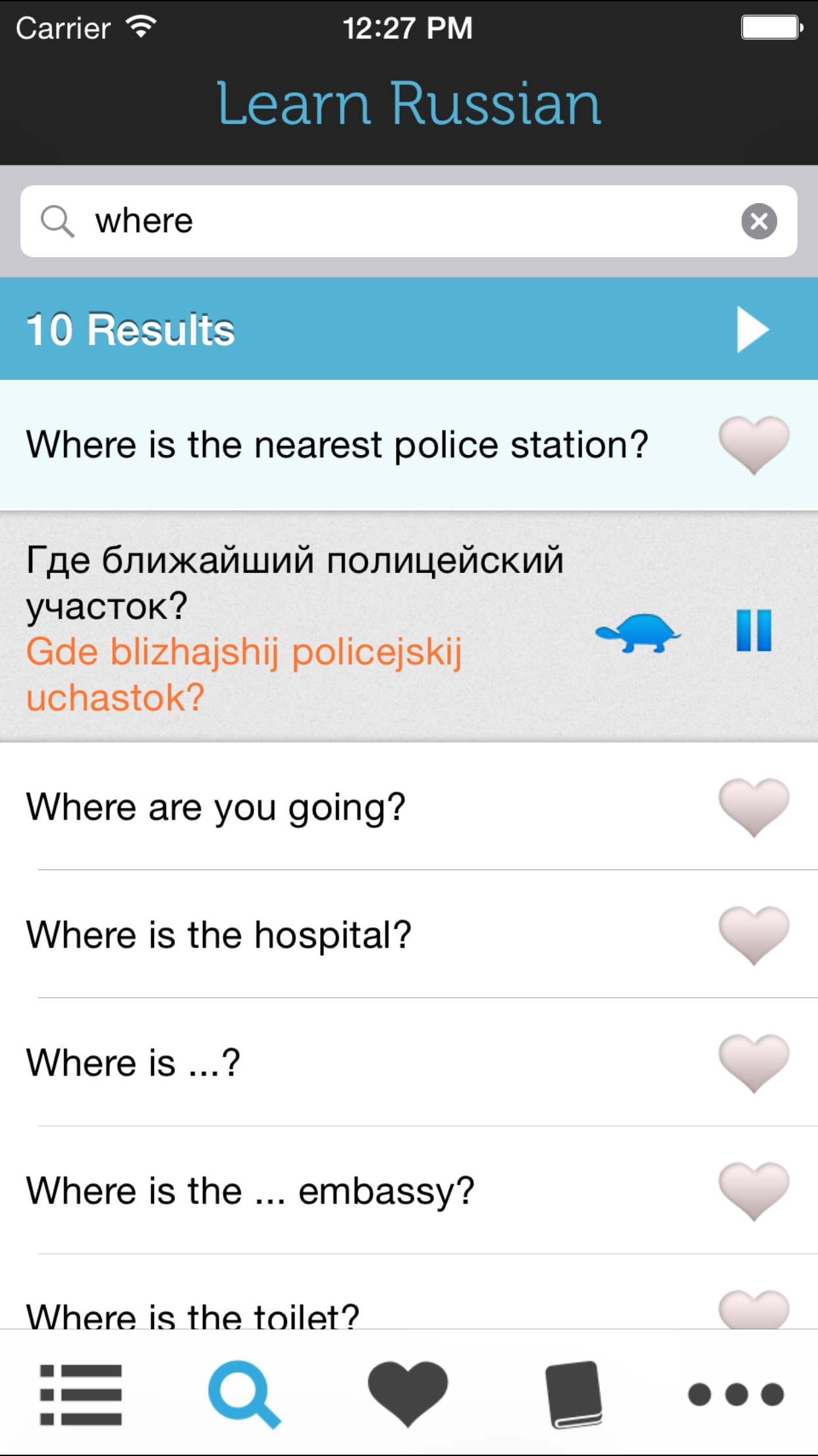 Screenshot do app Learn Russian - Phrasebook