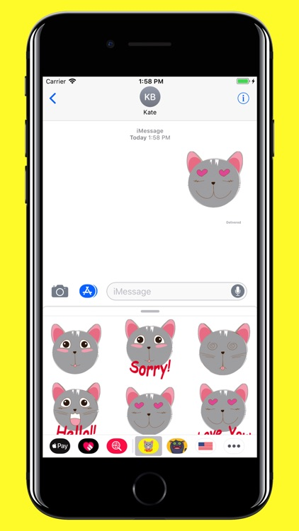 Grey Cat emojis - Smiley moji screenshot-3