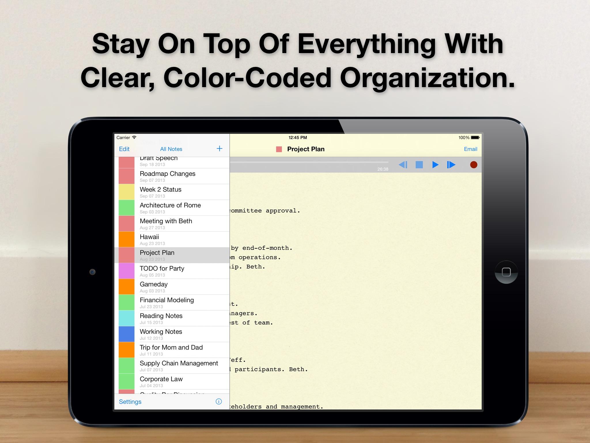 Screenshot do app Audio Notebook: Sound Recorder
