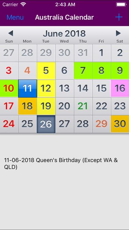 Calendar 2019 App 2019 Australia Calendar NoAds by Rhappsody Technologies